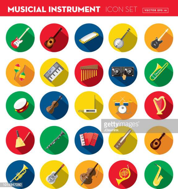 musical instrument flat design set themed icon set with shadow - percussion instrument stock illustrations