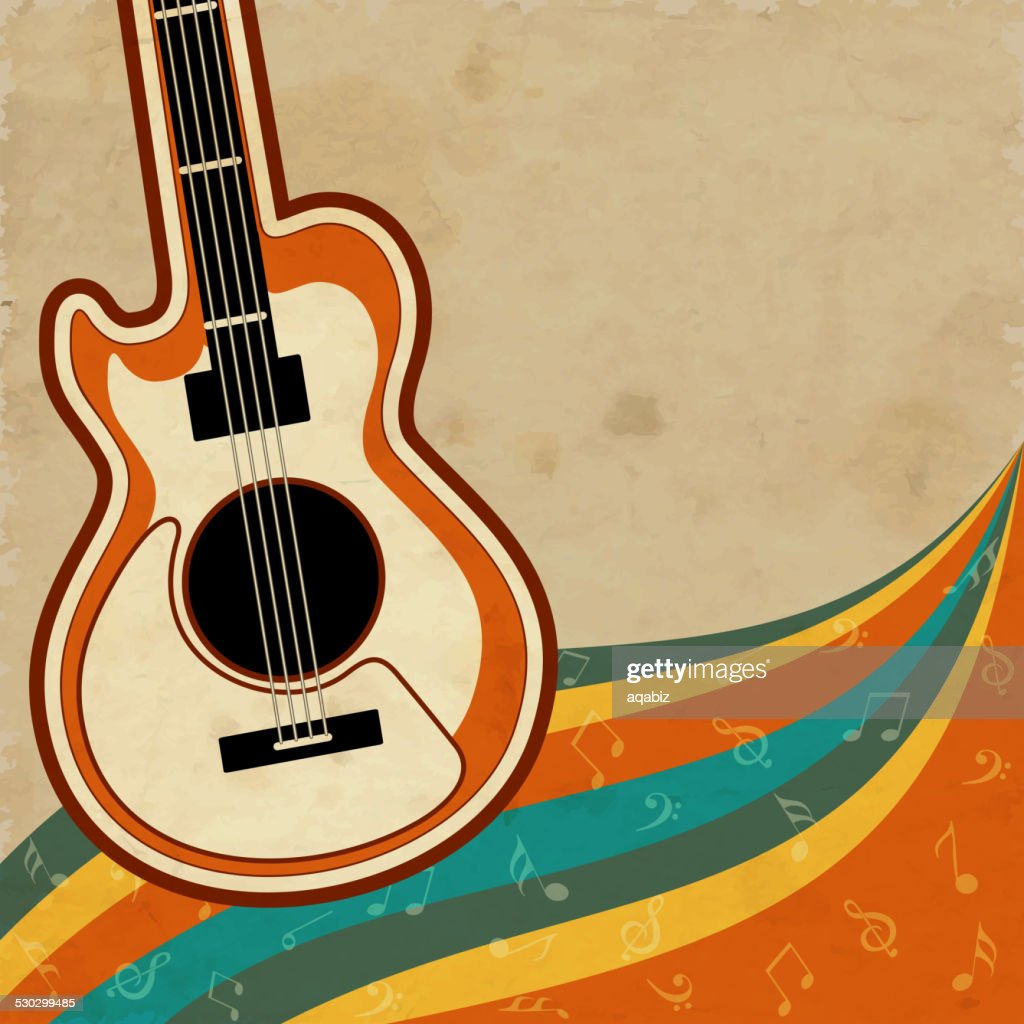 Musical instrument guitar with musical notes.