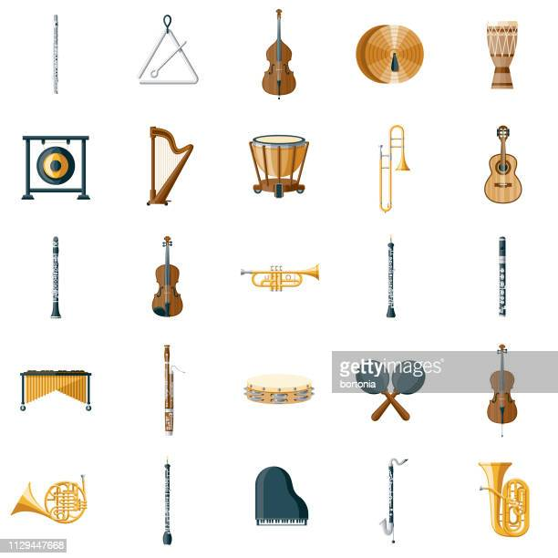 musical instrument icon set - musical instrument stock illustrations