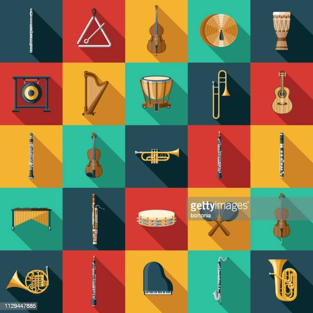 musical instrument icon set - classical stock illustrations