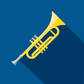 Musical Instrument trumpet horn Flat Design themed Icon Set with shadow