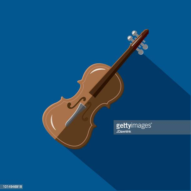 Musical Instrument violin Flat Design themed Icon Set with shadow