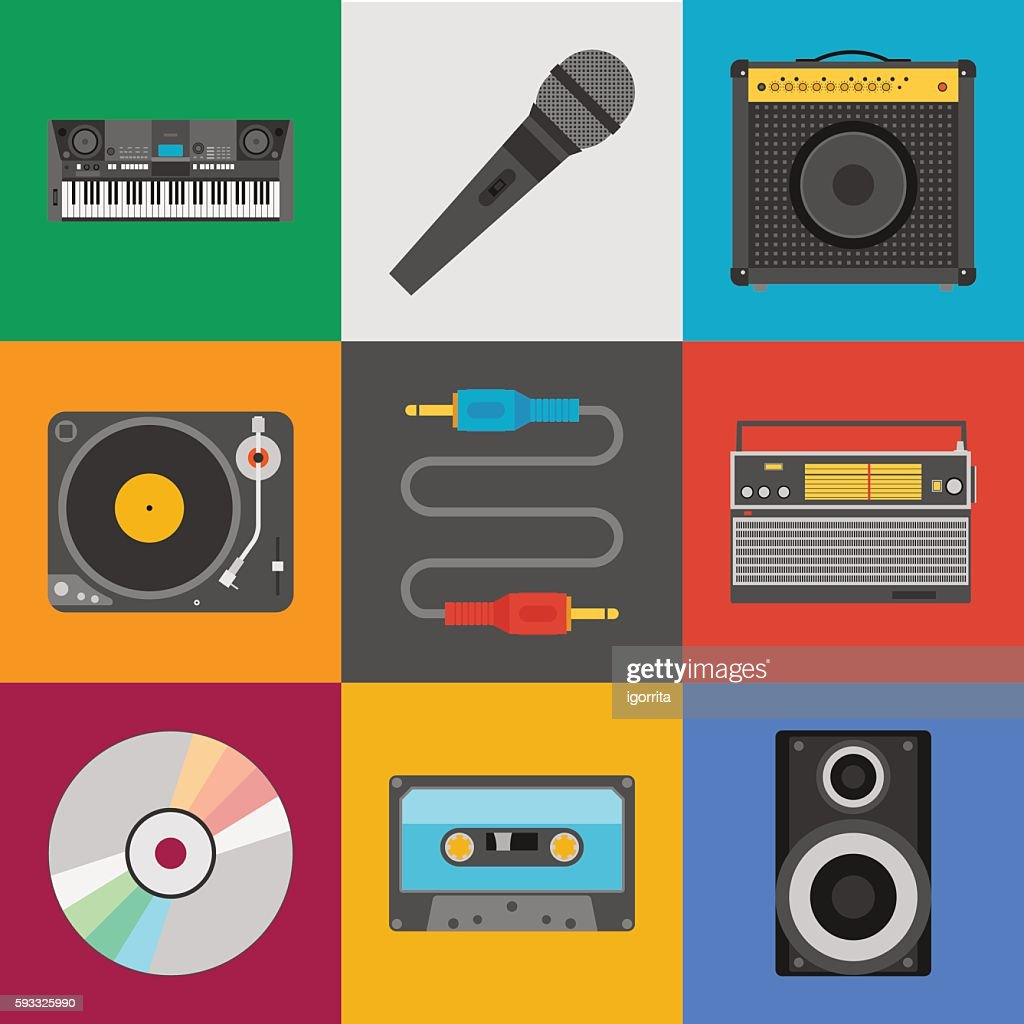 musical instruments and  equipment icon set. flat style illustration
