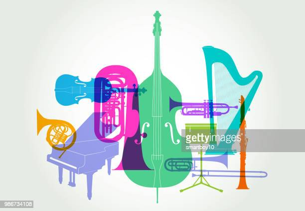 musical instruments - classical orchestra - classical stock illustrations