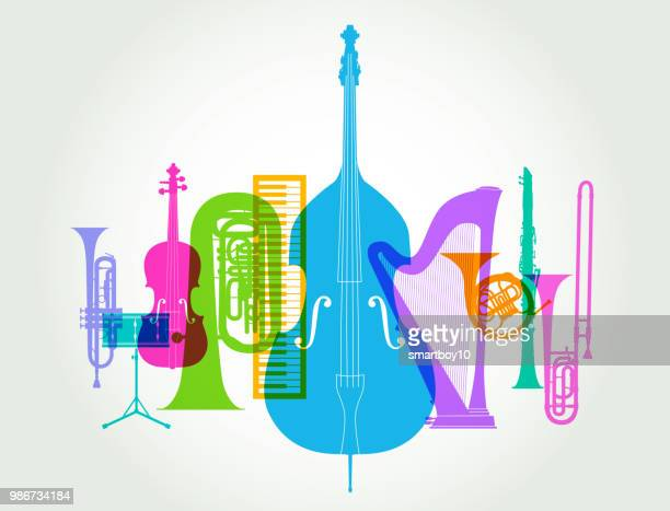 musical instruments - classical orchestra - orchestra stock illustrations