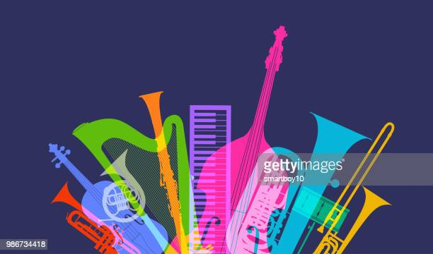 musical instruments - classical orchestra - violin stock illustrations, clip art, cartoons, & icons