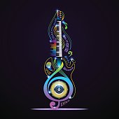 Musical instruments collage for rock, jazz, blues, lounge, electronic, live.