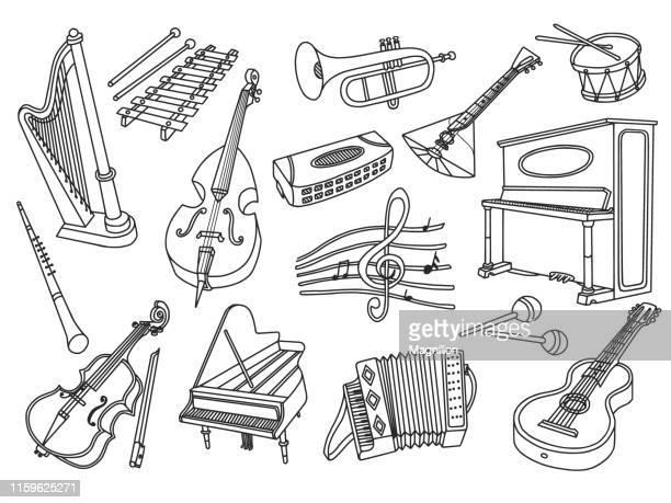 musical instruments doodle set - accordion instrument stock illustrations