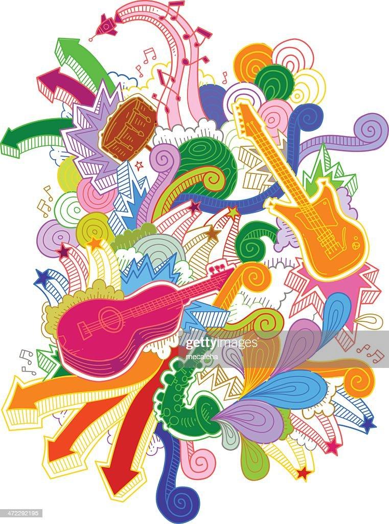 Musical Instruments Doodles : stock illustration