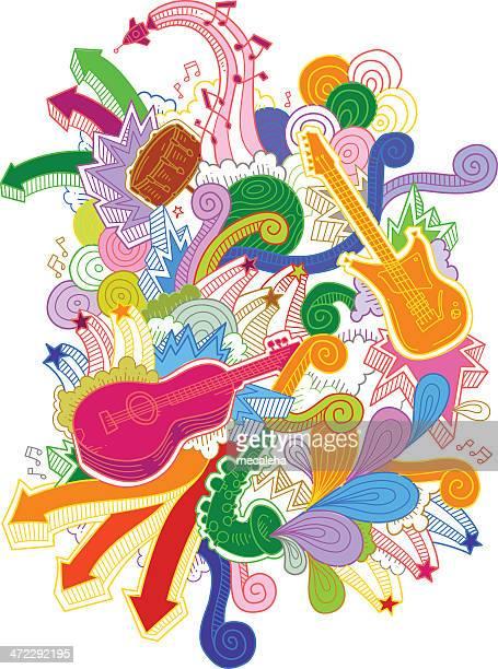 musical instruments doodles - bass instrument stock illustrations, clip art, cartoons, & icons