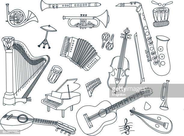 musical instruments doodles - saxaphone stock illustrations, clip art, cartoons, & icons