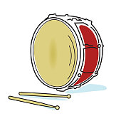 Musical instruments drum and sticks