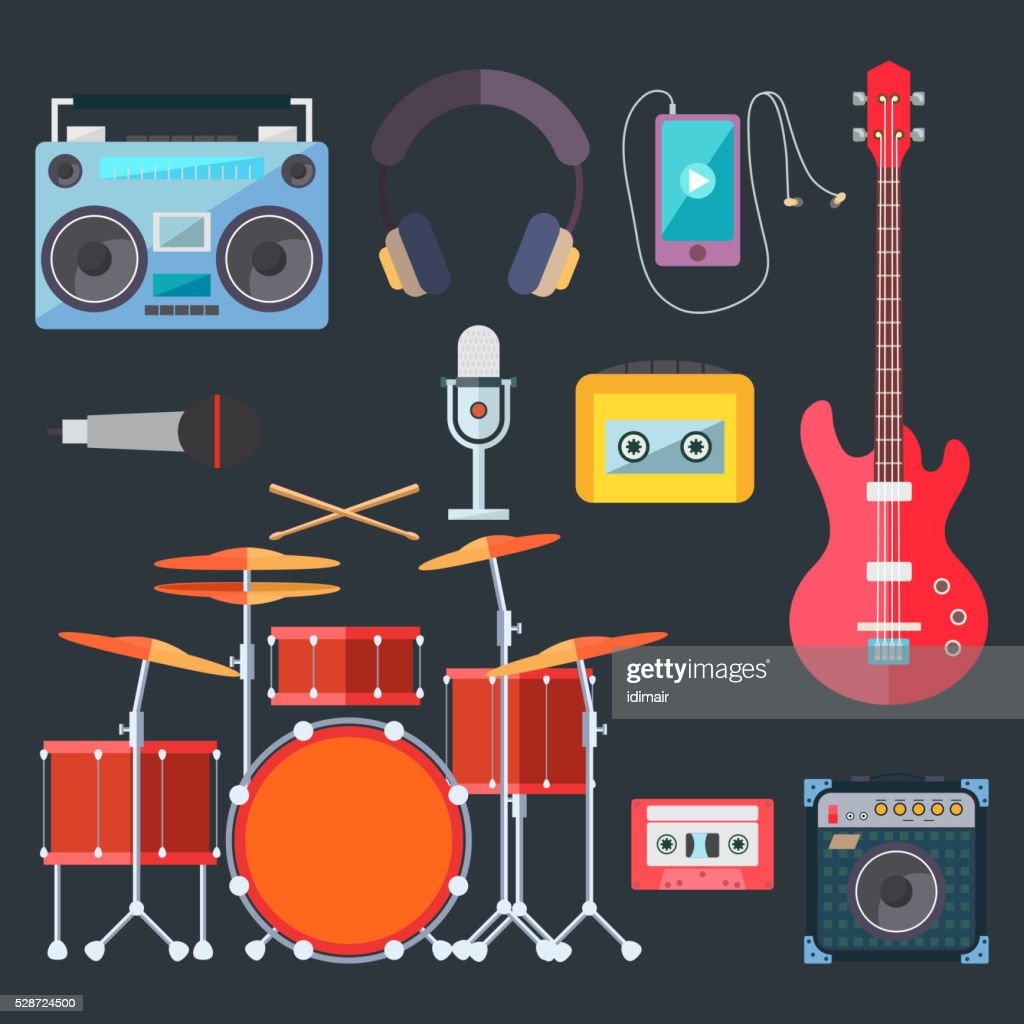 Musical instruments. Flat design. Vector