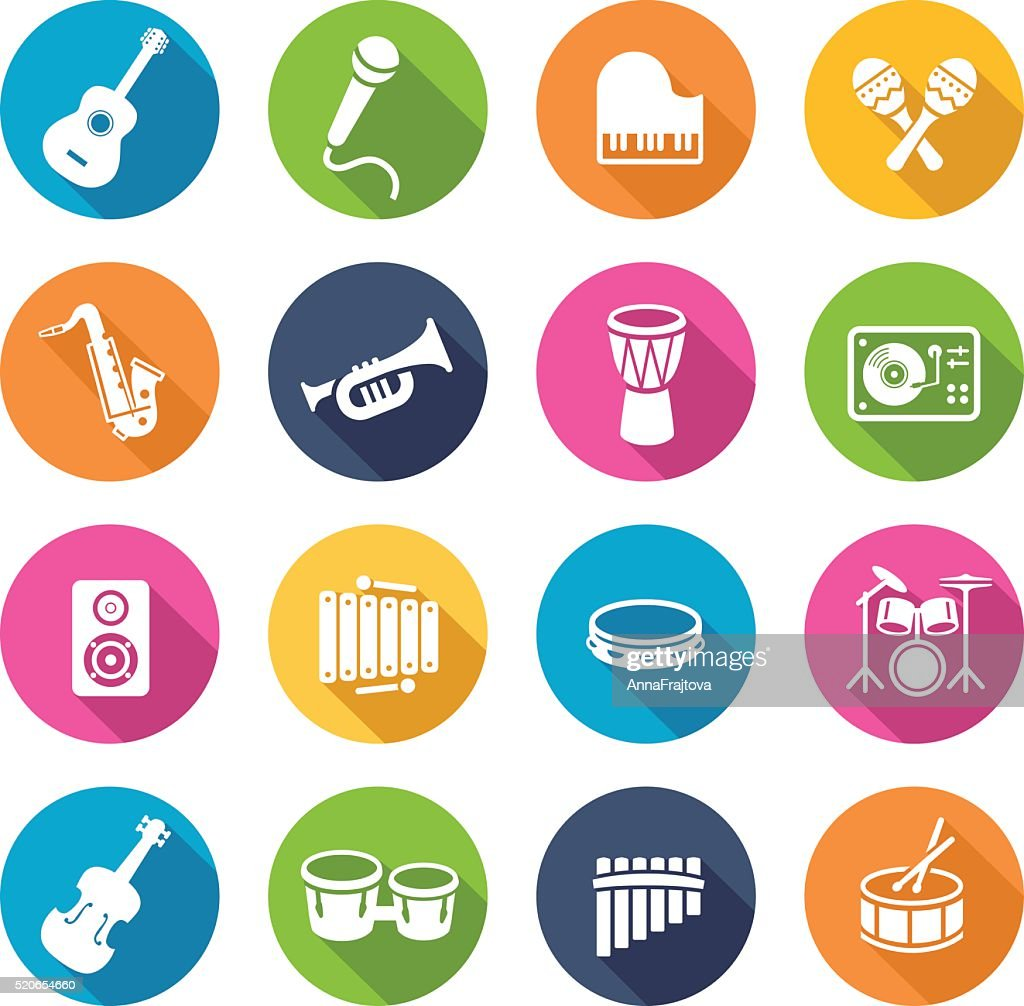 Musical Instruments Icons Circles oprava 2