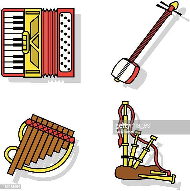 ilustrações de stock, clip art, desenhos animados e ícones de instrumentos musicais de ícones - vangen