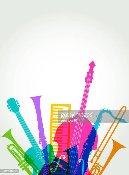 musical instruments - jazz - double bass stock illustrations, clip art, cartoons, & icons