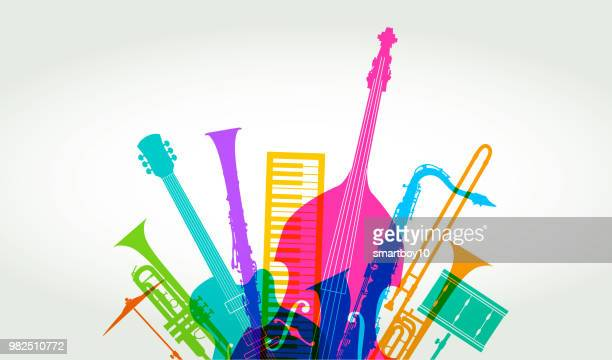 musical instruments - jazz - saxaphone stock illustrations, clip art, cartoons, & icons