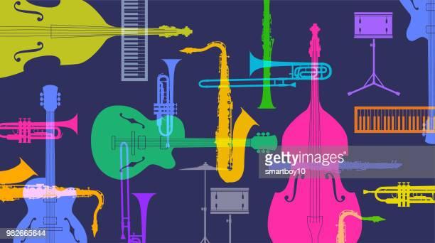 musical instruments - jazz - bass instrument stock illustrations, clip art, cartoons, & icons