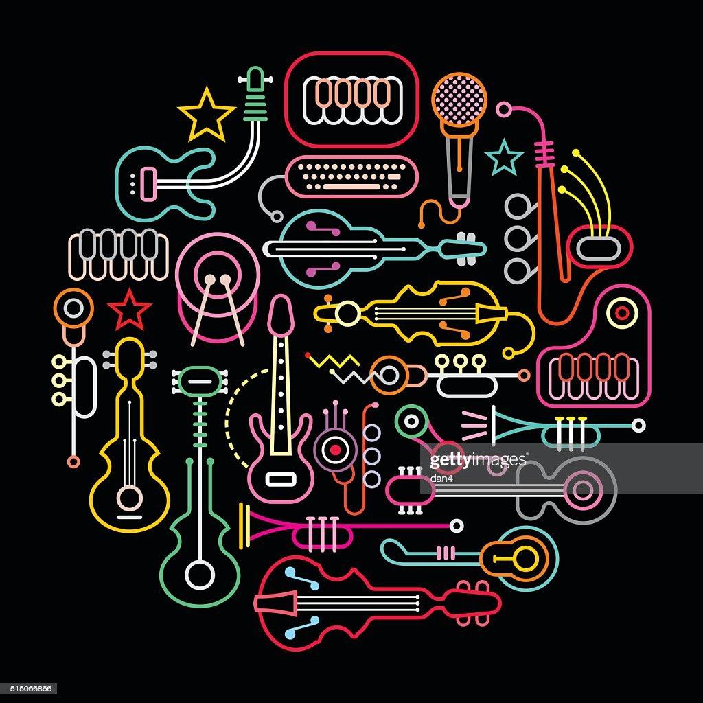 Musical Instruments Round Illustration