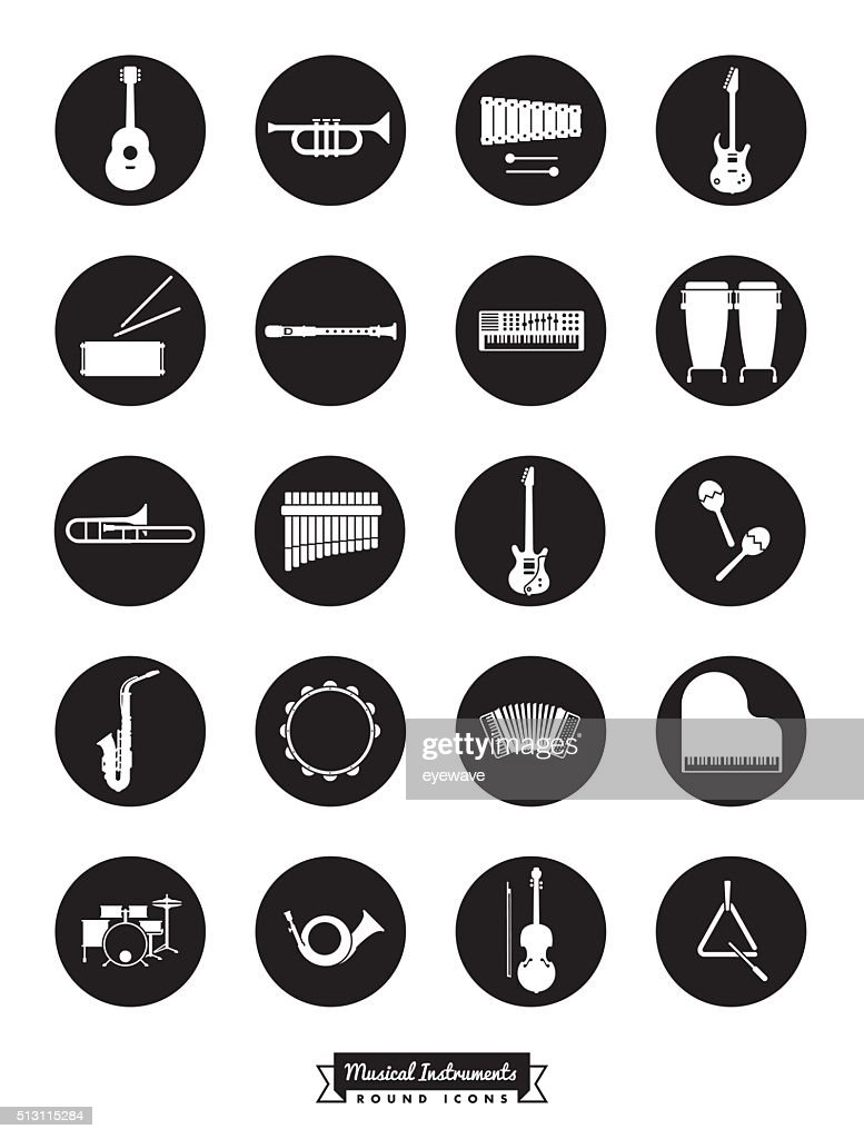 Musical Instruments Round Vector Icon Set