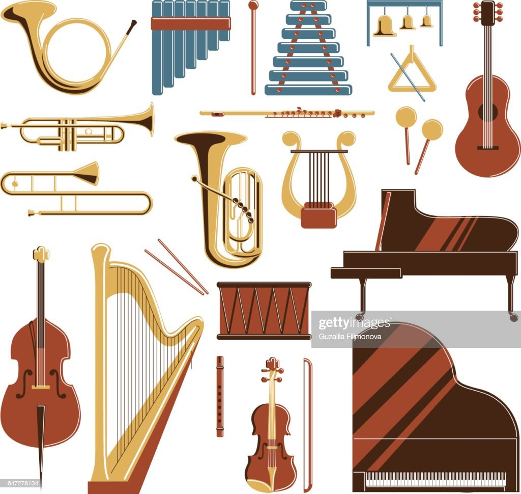 Musical instruments set.