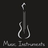 Musical instruments shop logo with guitar
