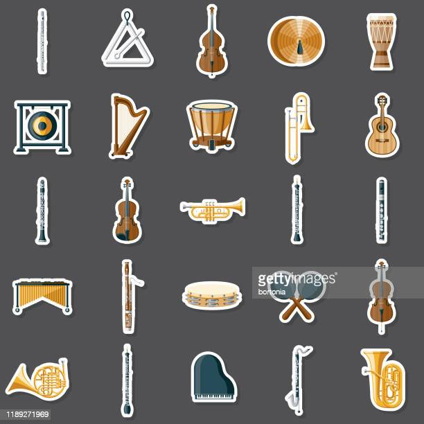 musical instruments sticker set - percussion instrument stock illustrations