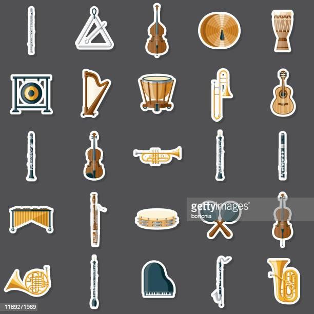musical instruments sticker set - stringed instrument stock illustrations