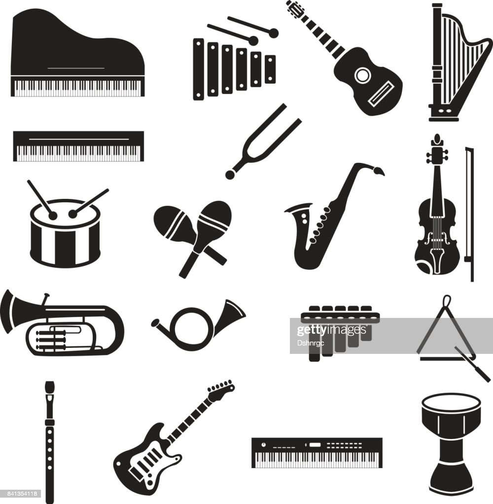 Musical instruments vector icon set black on white background