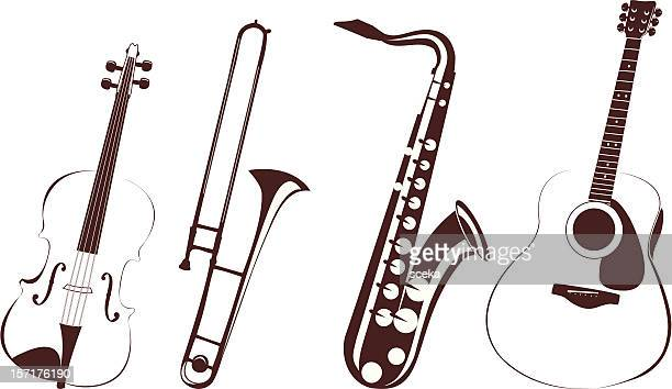 musical instruments - saxaphone stock illustrations, clip art, cartoons, & icons