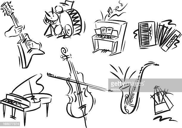 illustrations, cliparts, dessins animés et icônes de instruments de musique - jazz
