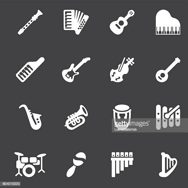 musical instruments white silhouette icons | eps10 - musical instrument stock illustrations, clip art, cartoons, & icons