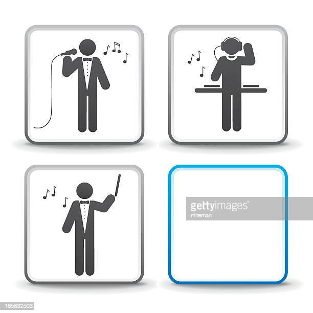 ilustraciones, imágenes clip art, dibujos animados e iconos de stock de musical familia/trilogy de puestos de trabajo - director de orquesta