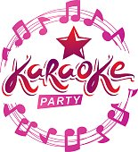 Musical karaoke performance flyer poster composed using circular decorative musical sheet with notes, karaoke party inscription. Musical festival concept.