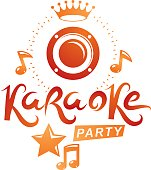 Musical karaoke performance flyer template created with musical notes, karaoke party inscription.