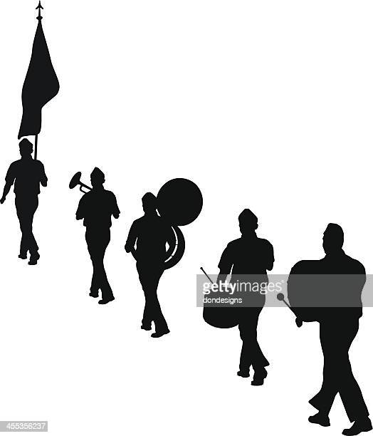 musical marching band - parade stock illustrations, clip art, cartoons, & icons
