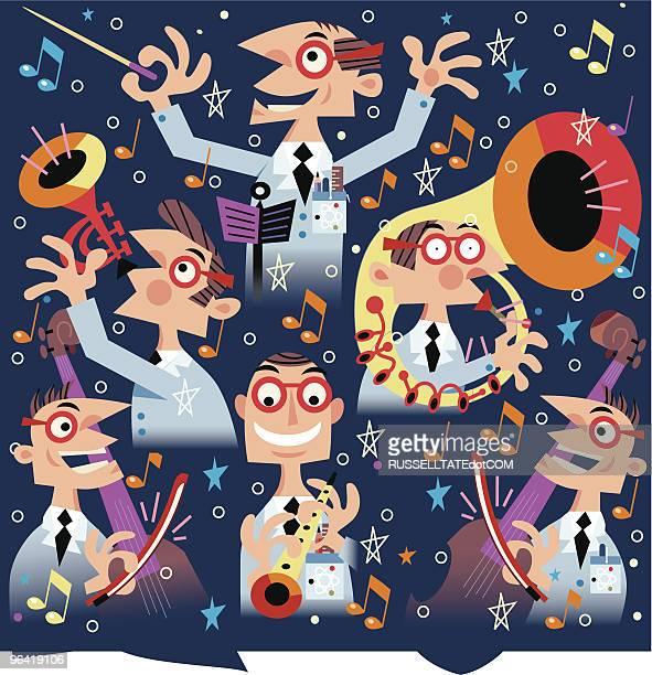 musical mayhem - orchestra stock illustrations, clip art, cartoons, & icons