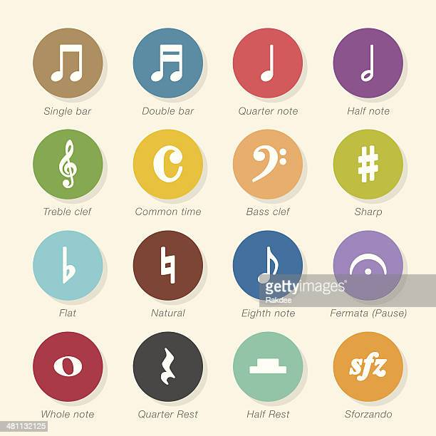 musical note icons - color circle series - treble clef stock illustrations, clip art, cartoons, & icons