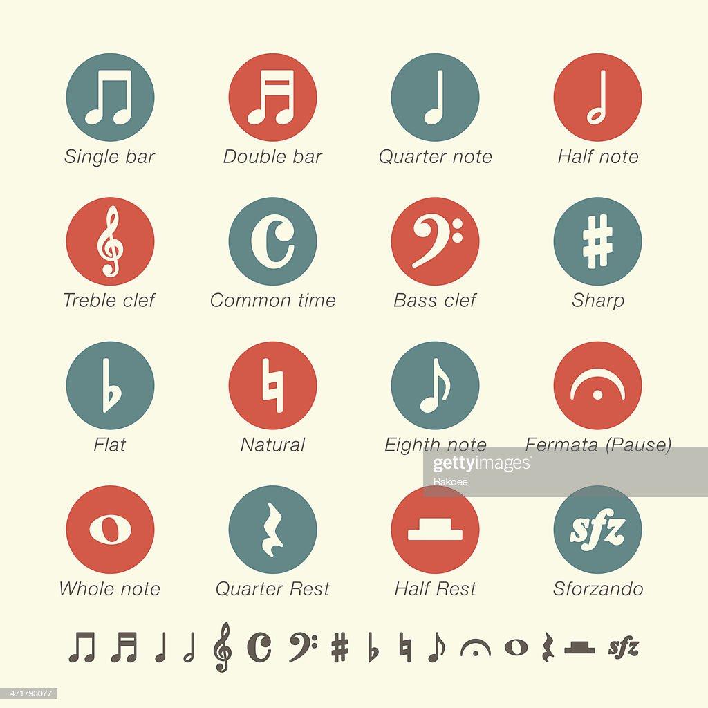 Nota Musical serie iconos-Color : Ilustración de stock