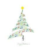 Musical note staff on Christmas fir