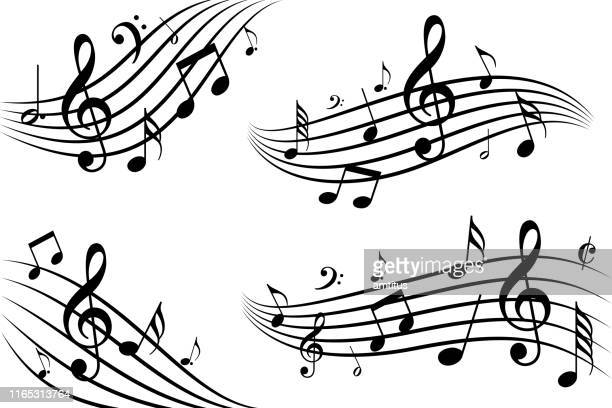 musical note waves - music stock illustrations