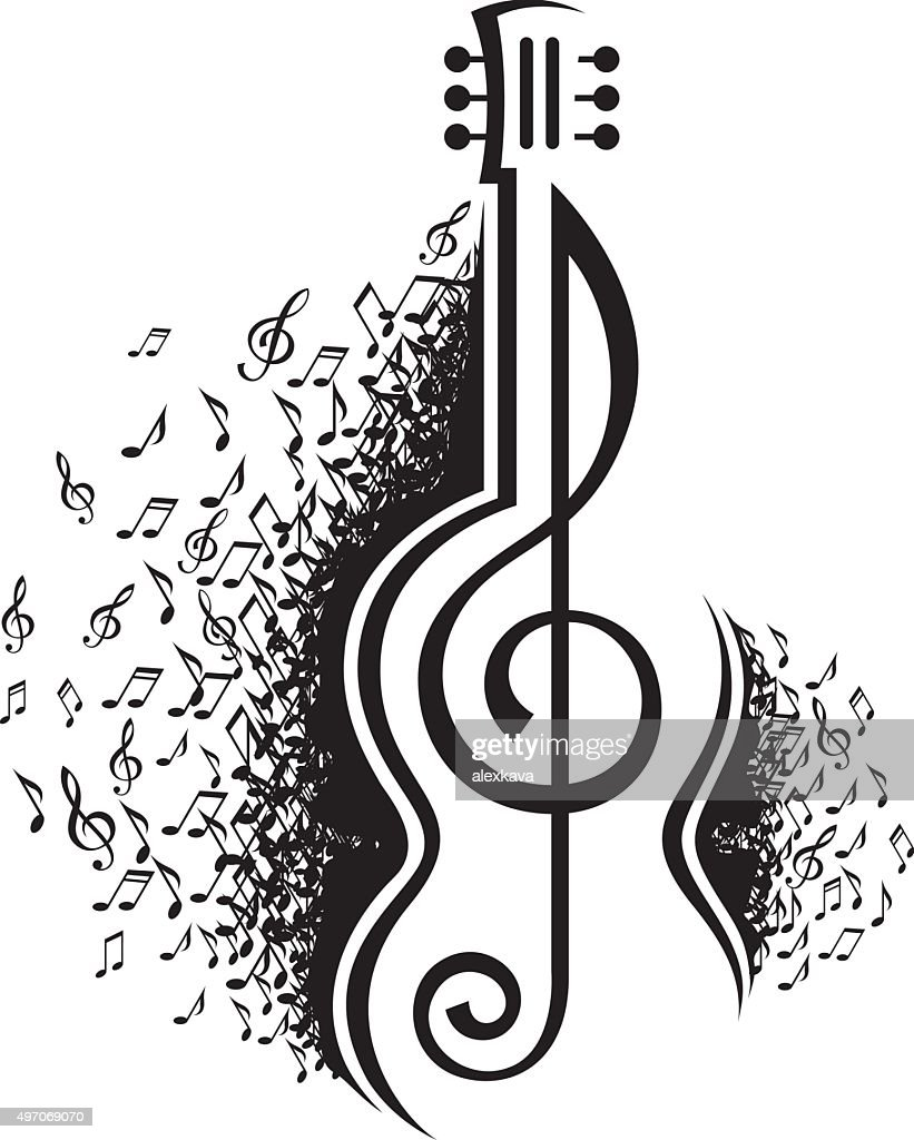 musical notes and guitar