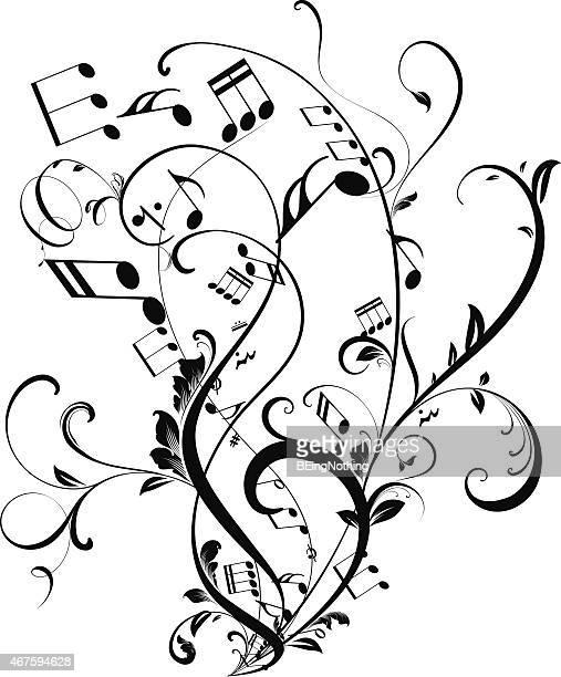 ilustrações, clipart, desenhos animados e ícones de notas musicais flutuante - nota musical