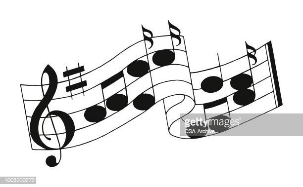 illustrazioni stock, clip art, cartoni animati e icone di tendenza di musical notes on a staff - chiave di violino