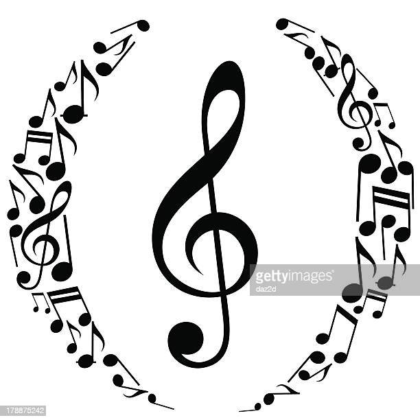 musikalischen notizen ovalen komposition - treble clef stock-grafiken, -clipart, -cartoons und -symbole