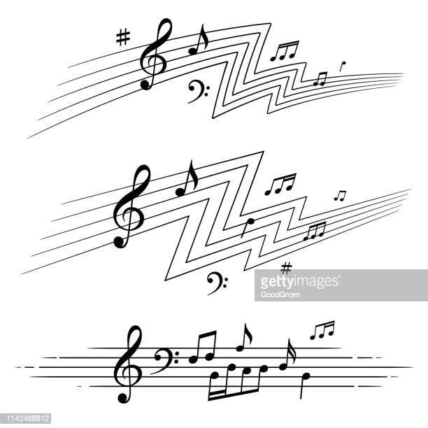 musikalische noten gesetzt - musik stock-grafiken, -clipart, -cartoons und -symbole