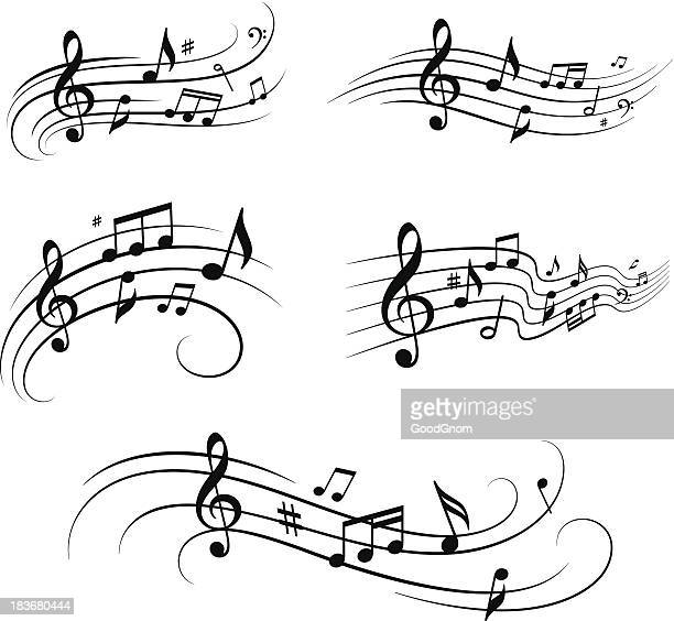 musikalischen notizen set - treble clef stock-grafiken, -clipart, -cartoons und -symbole