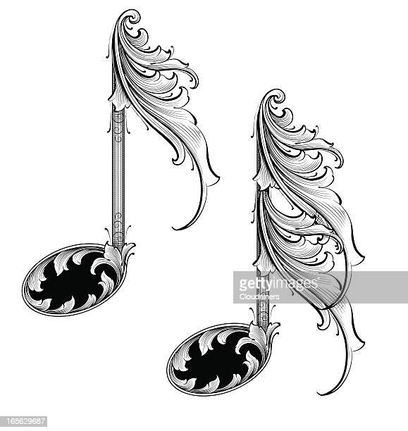 musical notes - music symbols stock illustrations, clip art, cartoons, & icons
