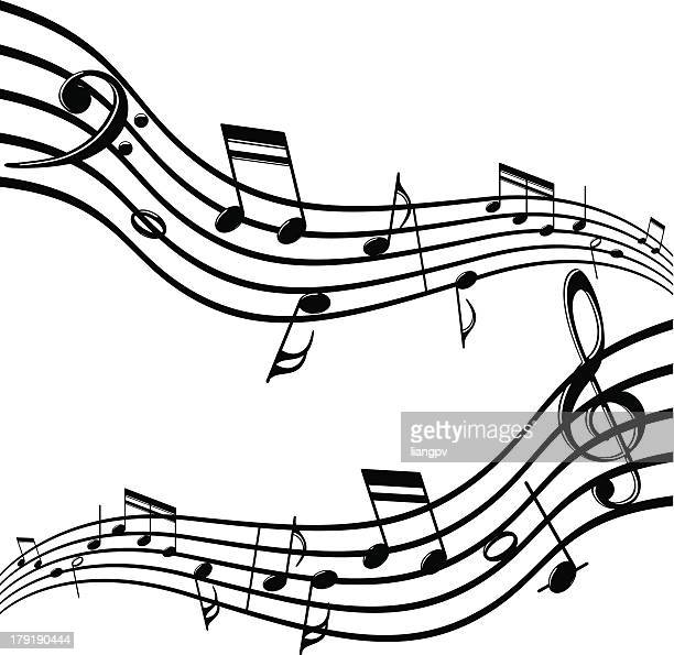 musical notes - bass clef stock illustrations, clip art, cartoons, & icons