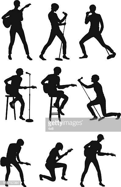 musical performer singing and playing guitar - microphone stand stock illustrations